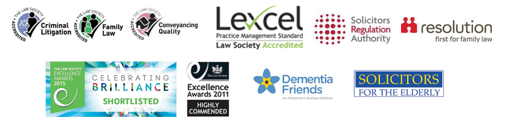 Lexel Practice Management Standard Law Society Accredited, Collaborative Family Lawyer, Resolution first for family law, Accredited The Law Society, Dementia Friends, Solicitors for the Elderly